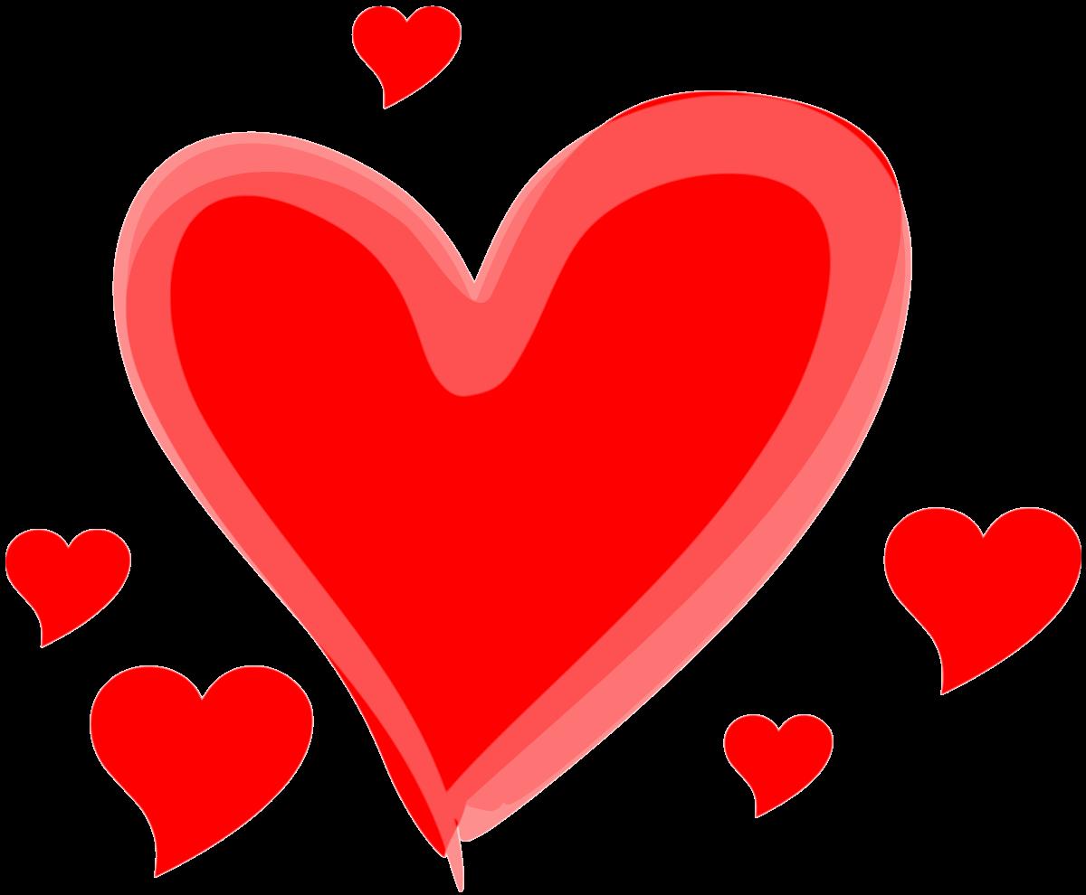 Czerwone serca o różnych wielkościach